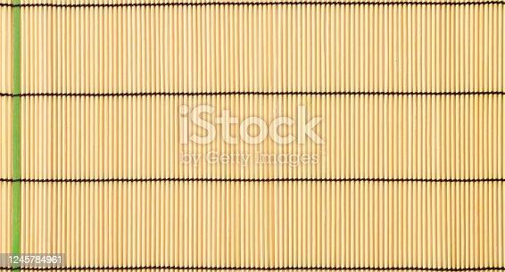 Overhead shot of bamboo mat textured background.
