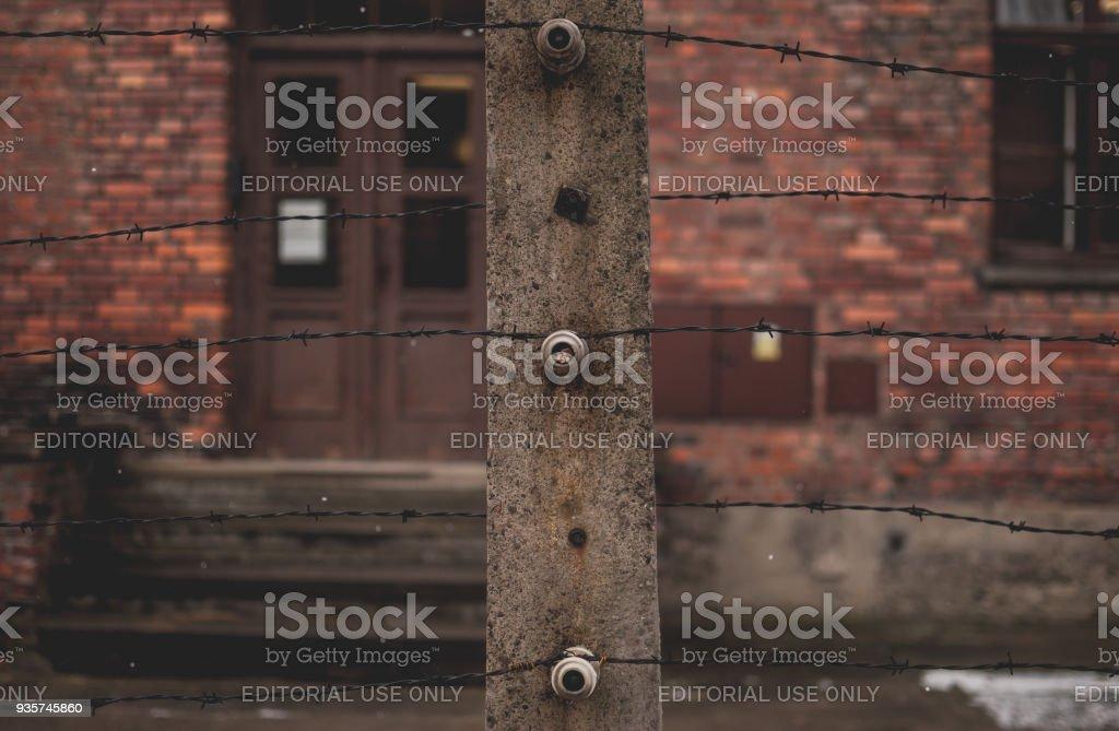 Nahaufnahme der Stacheldrahtzaun in Auschwitz. – Foto