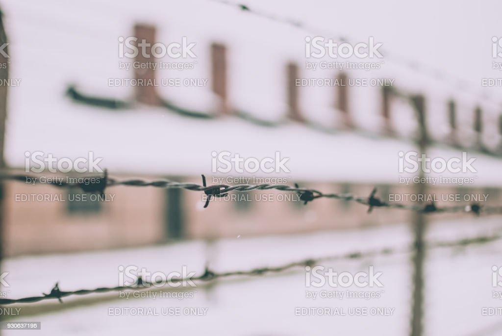 Nahaufnahme der Stacheldrahtzaun – Foto
