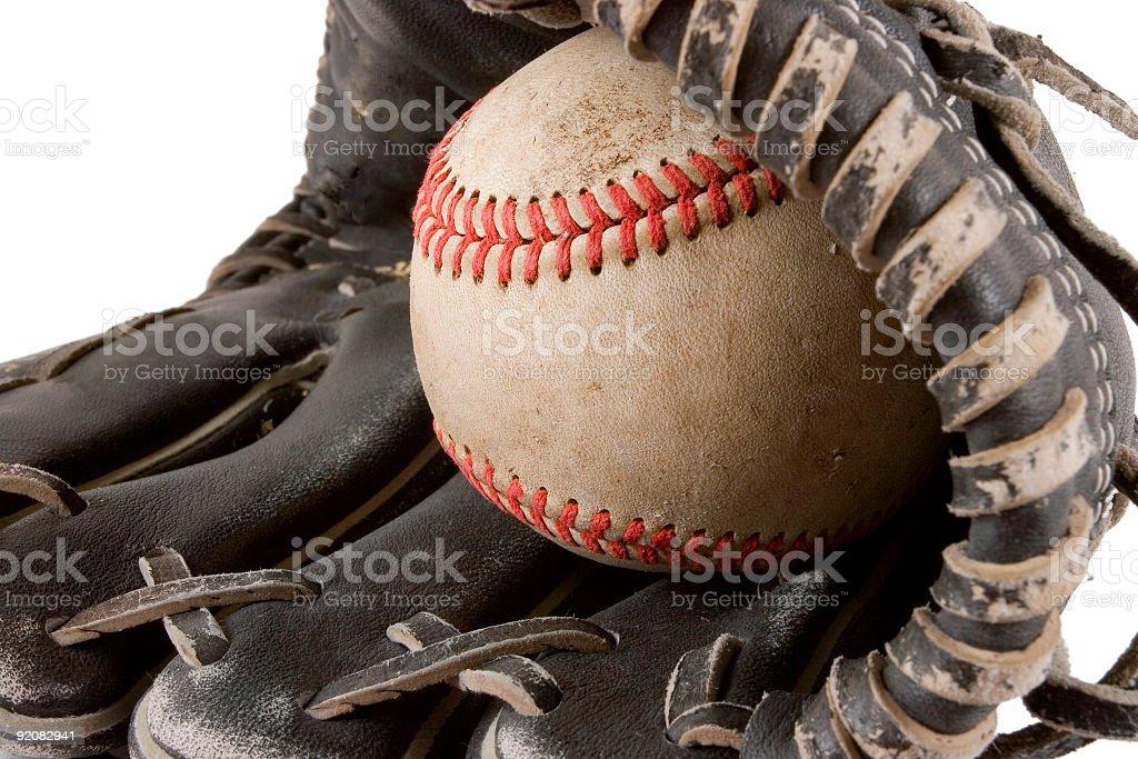 Close-up of baseball and glove royalty-free stock photo