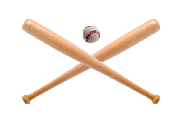 closeup of baseball bat and ball on white background. - baseball bat stock photos and pictures