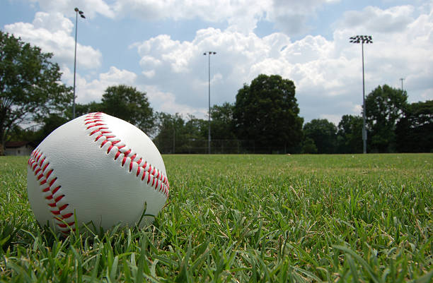 closeup of baseball sitting in grassy field under cloudy sky - spring training stock photos and pictures