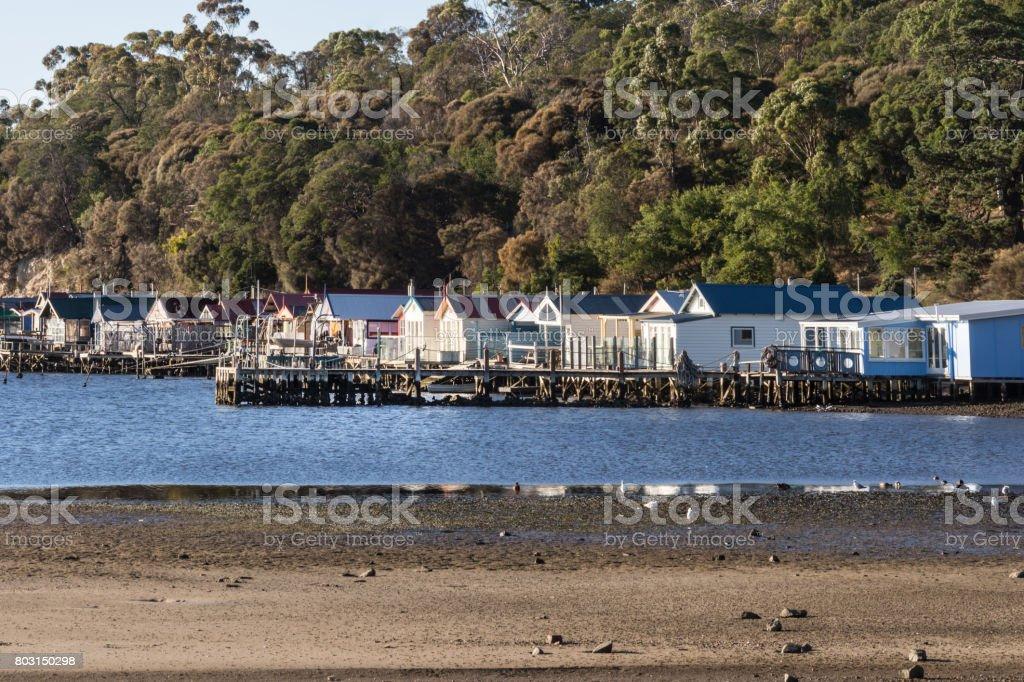 Closeup of beach houses at Cornelian Bay, Hobart Australia. stock photo