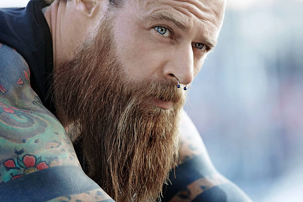 Best Man With Beard And Nose Piercing Stock Photos Pictures