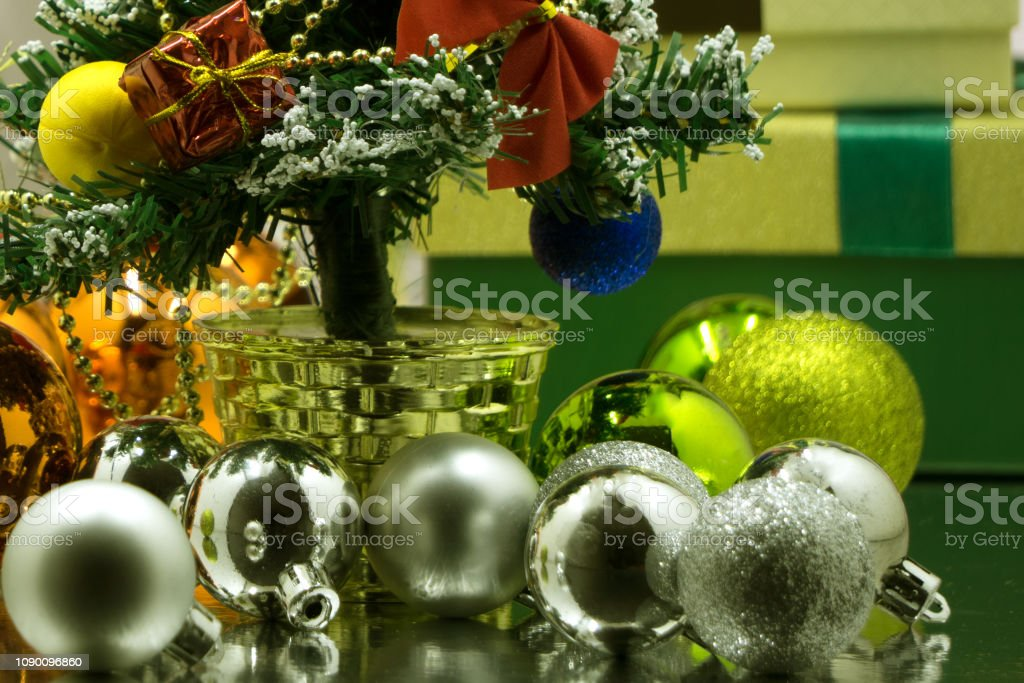 Close-up of beautiful Christmas gifts. Christmas surprises. Gifts...