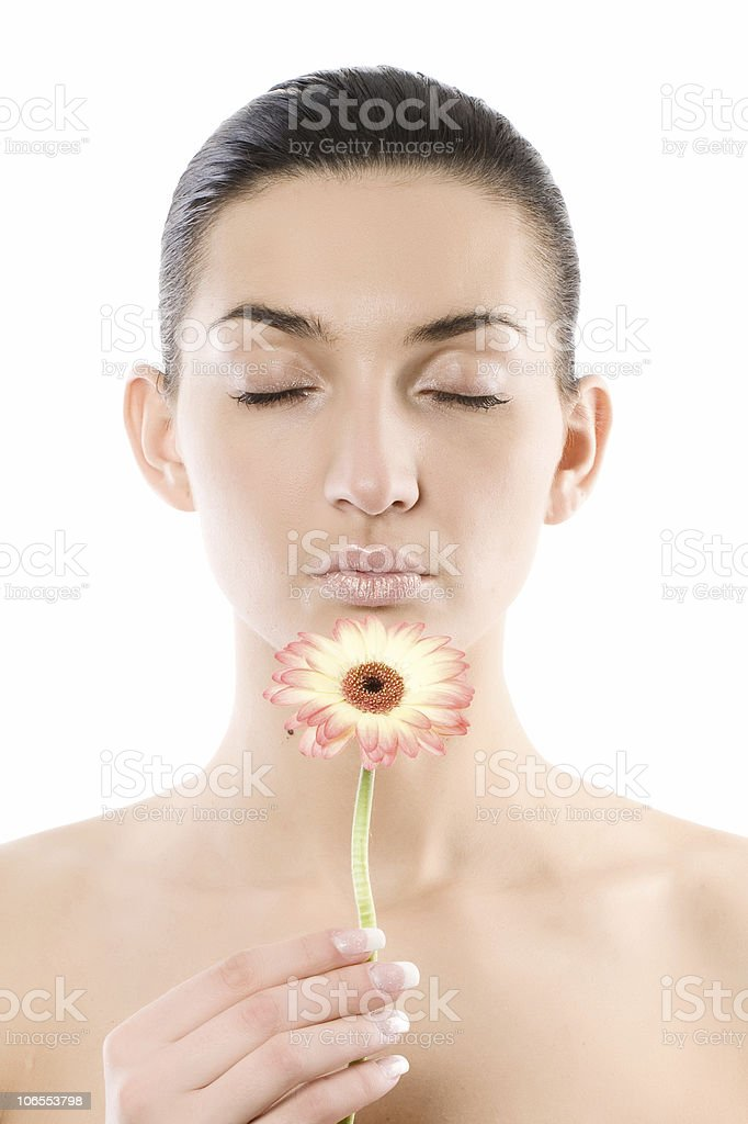 Close-up of beautiful face with flowers stock photo