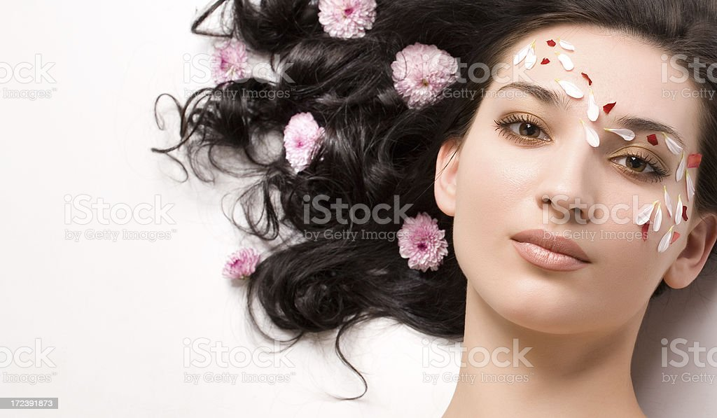 Close-up of beautiful face with flowers royalty-free stock photo