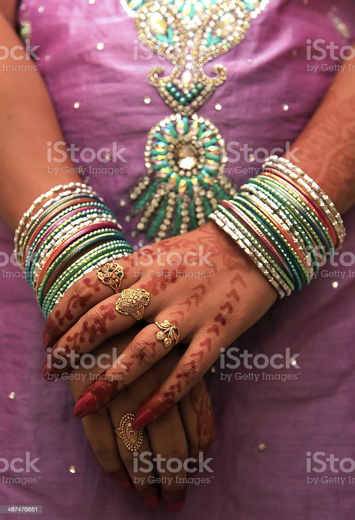 Closeup Of Beautiful Indian Woman Hands With Traditional Bangles ...