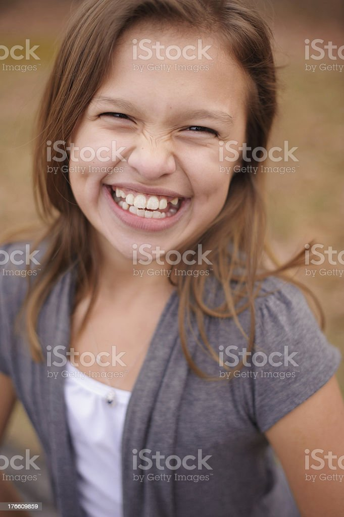Closeup of Beautiful Laughing Girl with Dimples royalty-free stock photo