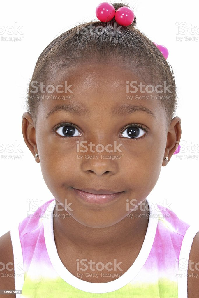 Close-up of Beautiful Little Girl in Summer Shirt stock photo