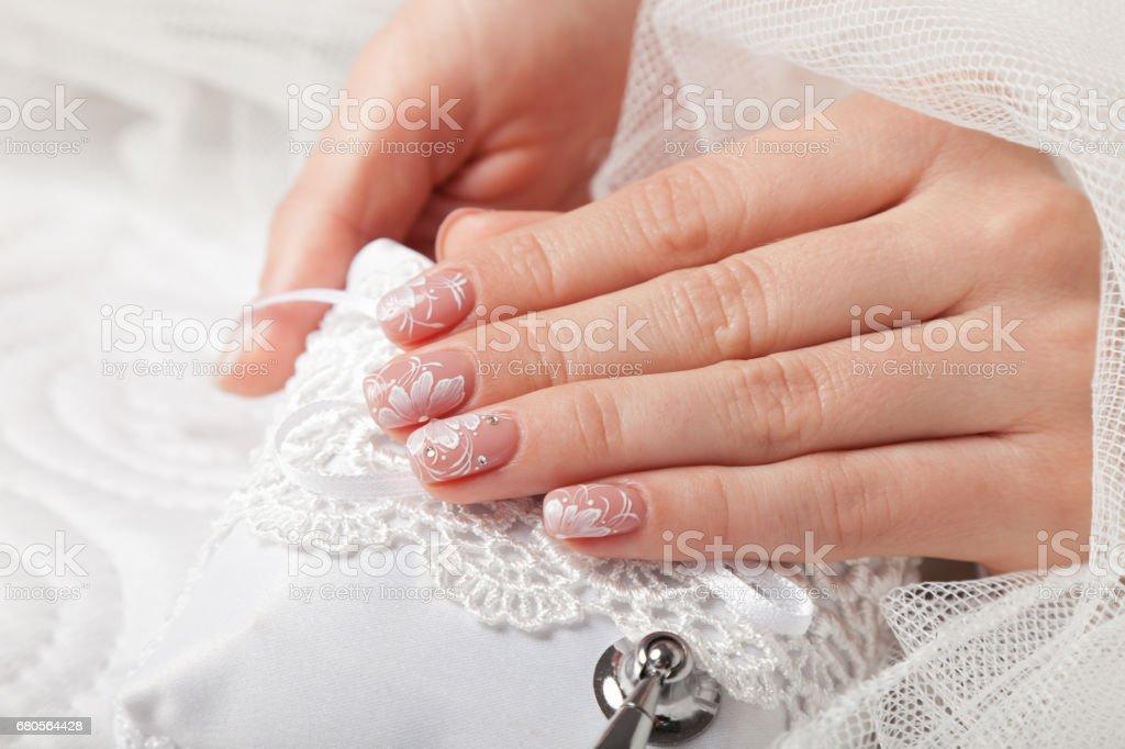 Close-up of beautiful manicured nails stock photo