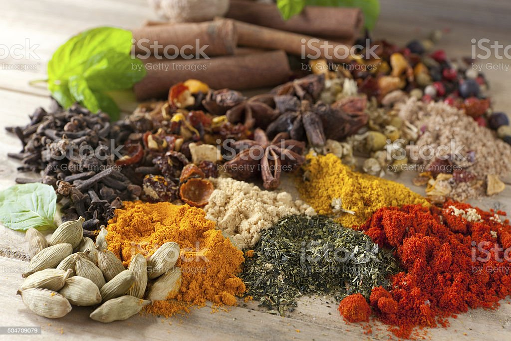 Closeup of beautiful spices stock photo