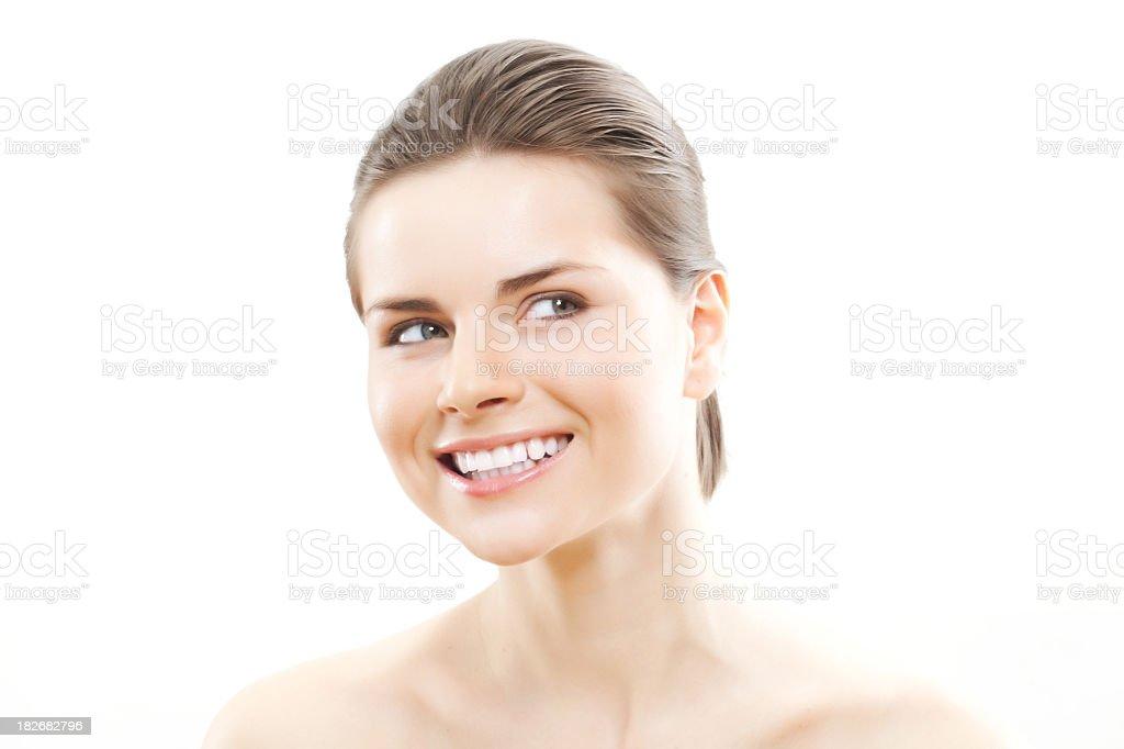 Close-up of beautiful woman face stock photo