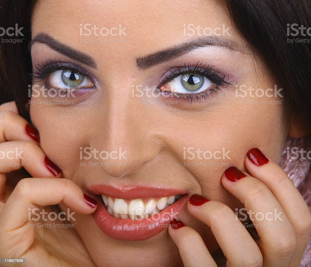 Close-up of Beautiful woman smiling stock photo