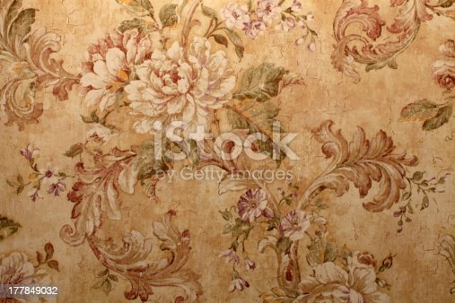 istock Close-up of beige vintage wallpaper with floral pattern 177849032