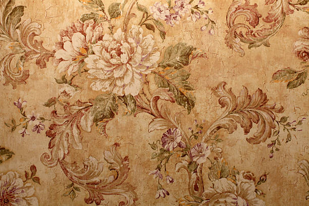 close-up of beige vintage wallpaper with floral pattern - baroque stock photos and pictures
