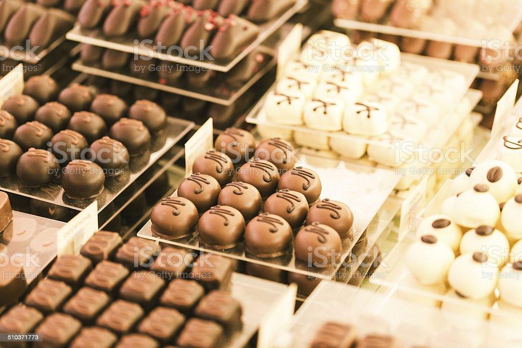 Nahaufnahme von belgischer Schokolade in Brüssel – Foto