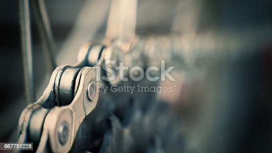 bicycle chain and gears close up