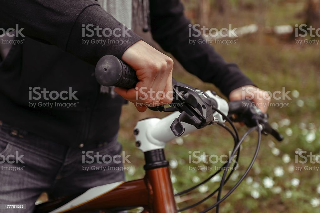 Close-up of bicycle wheel royalty-free stock photo