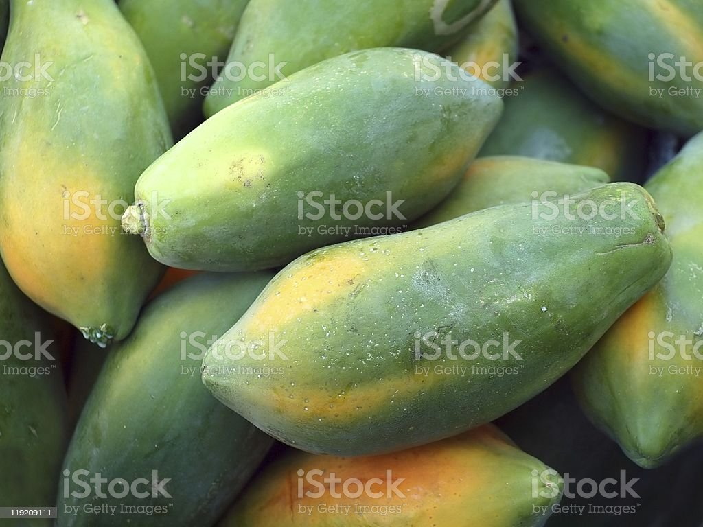 Close-up of big green ripe papayas stacked in a bunch stock photo