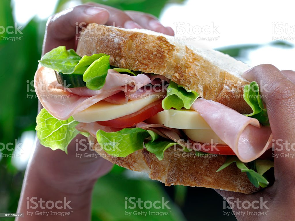 Close-up of big ham sandwich being held in small black hands stock photo