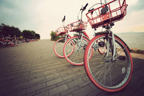 closeup of bike share in china stock photo