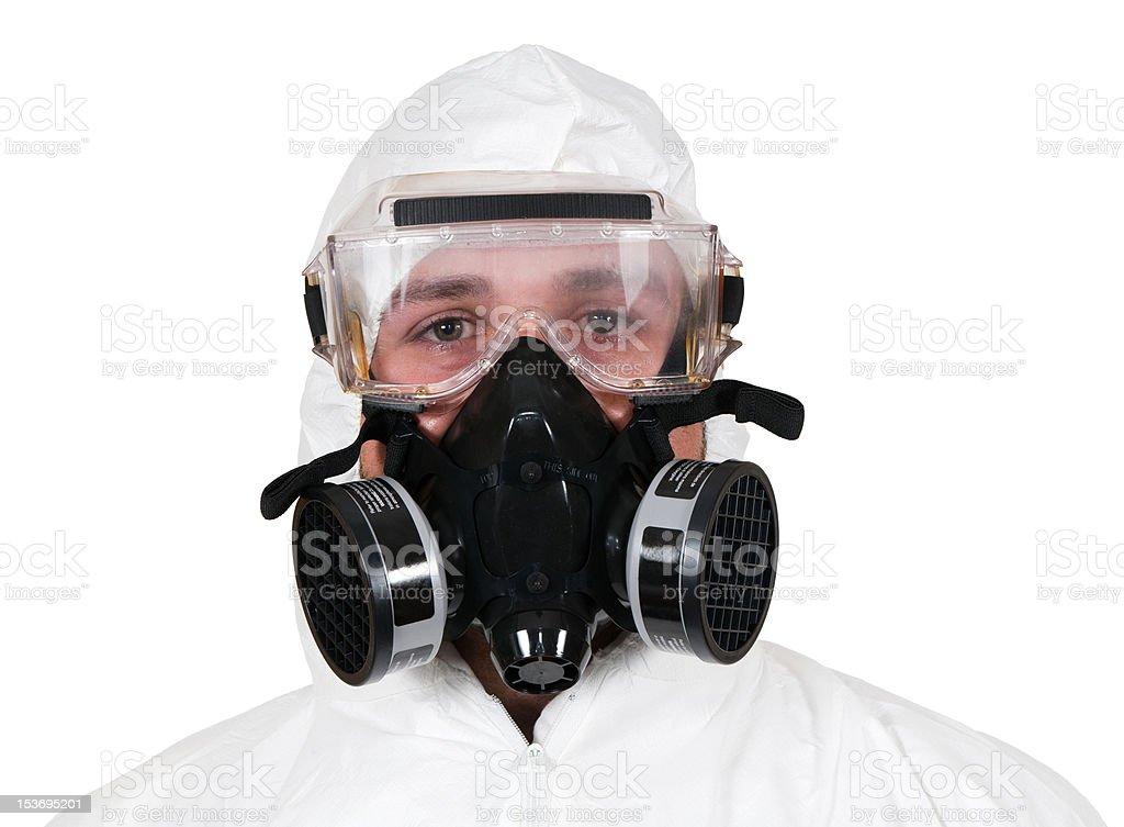 Closeup of Bio-Hazard Man stock photo
