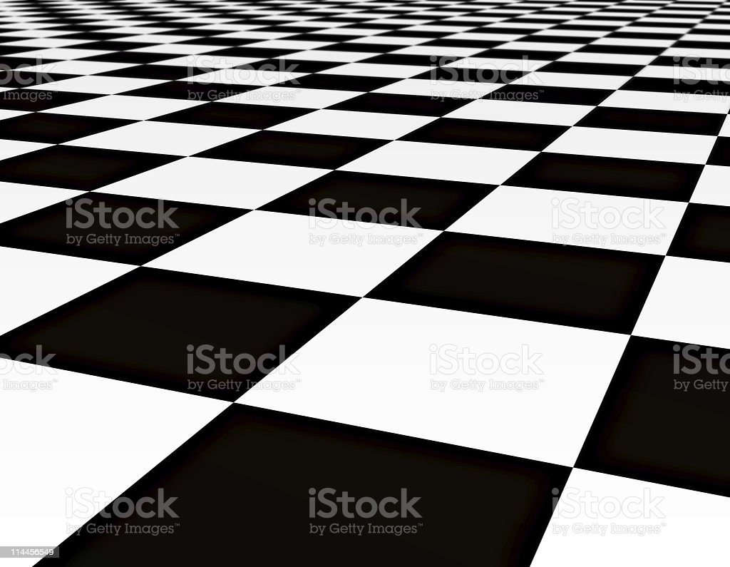 Closeup of black and white tiles in checkerboard pattern royalty-free stock photo