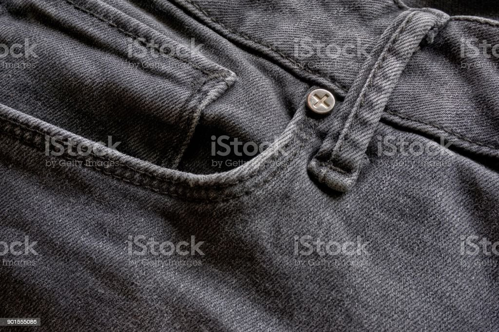 Close-up of black jeans fabric stock photo