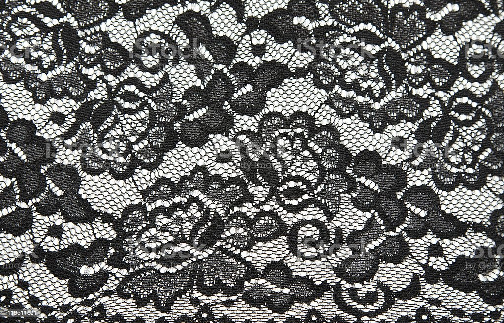 Close-up of black lace on a white background stock photo