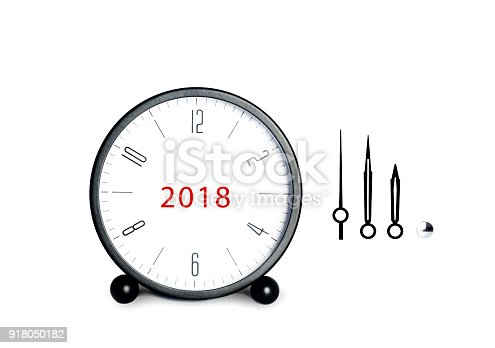 istock Close-up of black Table Alarm Clock on White Background 918050182