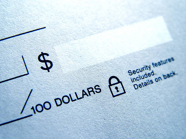 Closeup of Blank Check stock photo
