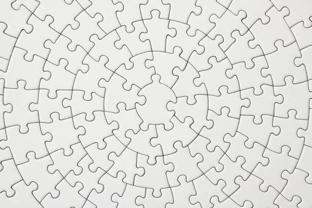 Close-up of blank circle jigsaw puzzle texture background. stock photo