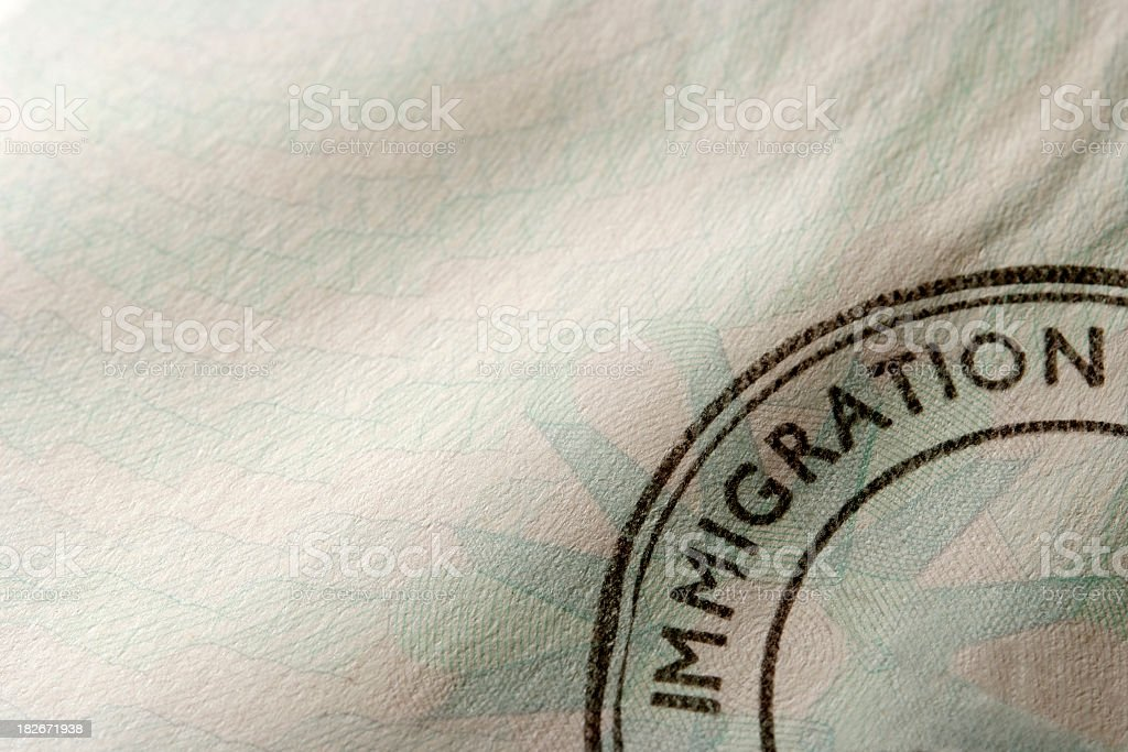 Close-up of blank immigration stamp with copy space stock photo