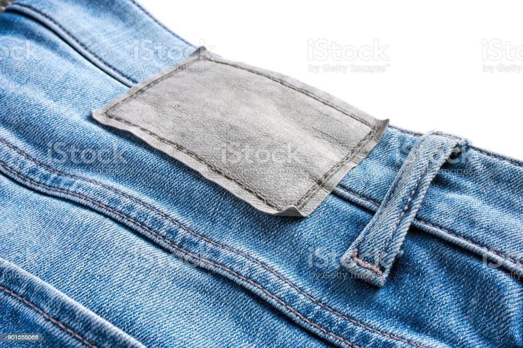 Close-up of blank label on blue jeans stock photo