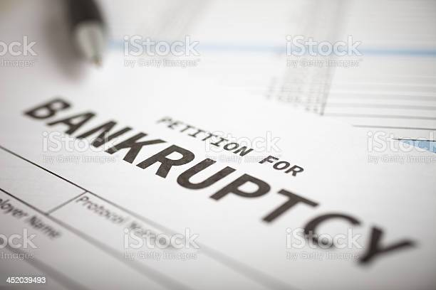 Closeup Of Blank Petition For Bankruptcy Stock Photo - Download Image Now
