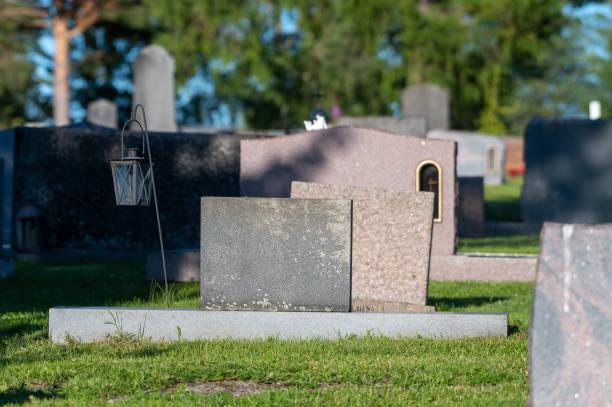 Closeup of blank tombstones at Alatornio cemetery stock photo