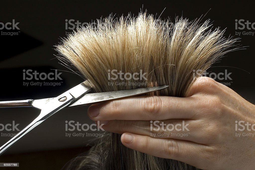 Close-up of blonde hair being cut with scissors royalty-free stock photo