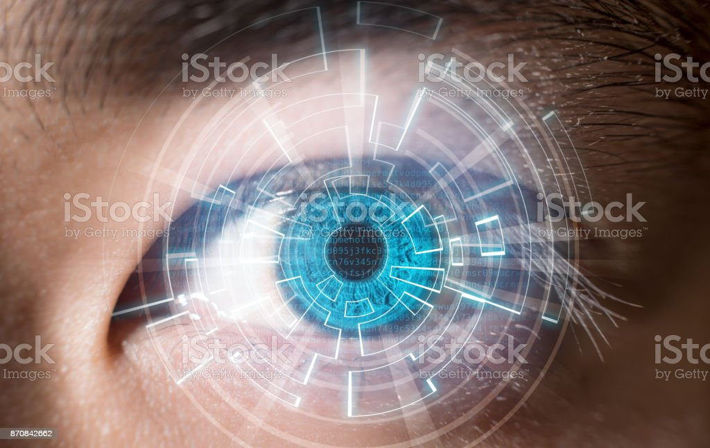 Close-up of blue eye digital scanning technology concept stock photo