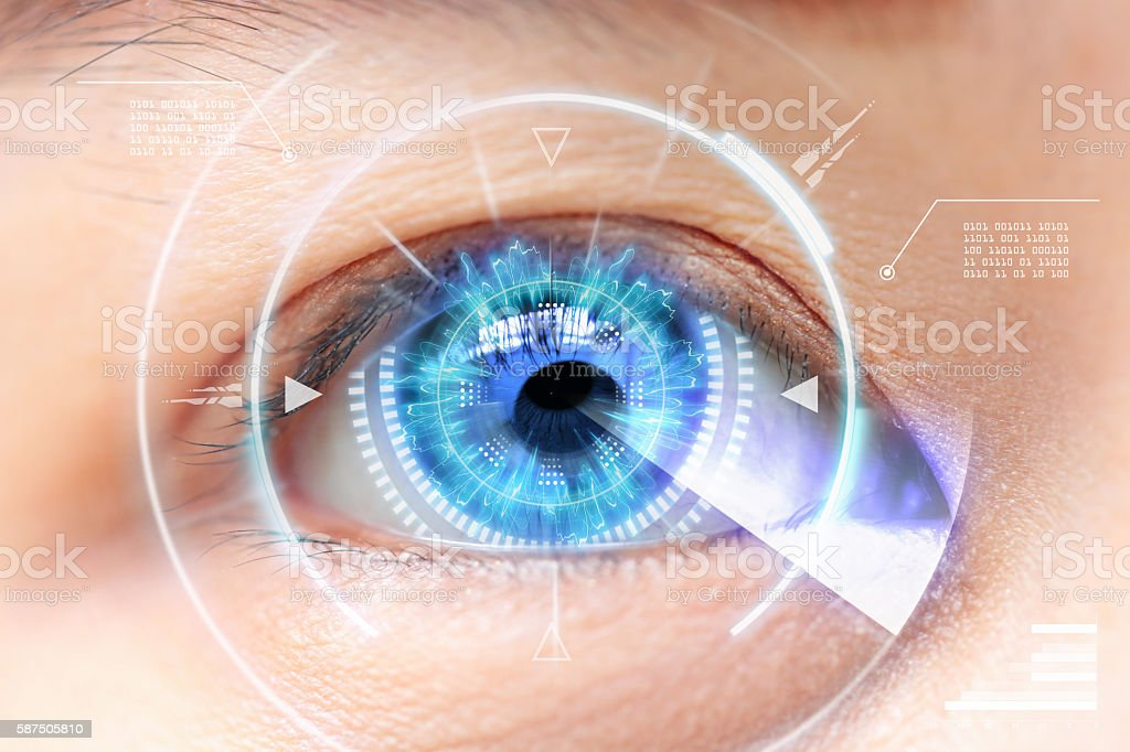 Close-up of blue eye. High Technologies in the futuristic. stock photo