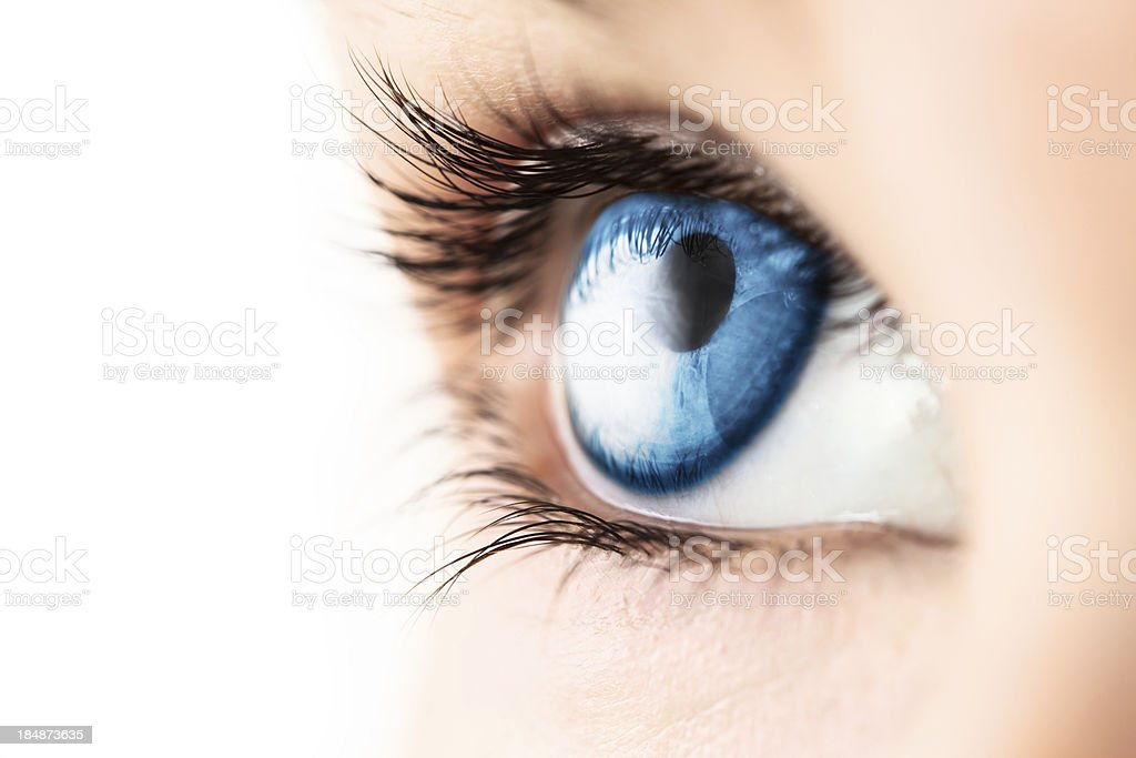 Close-up of blue eye with lashes stock photo