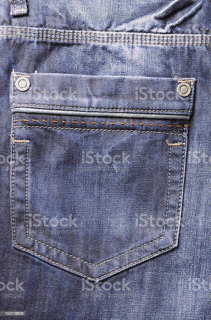 Closeup of blue jeans epmty pocket stock photo