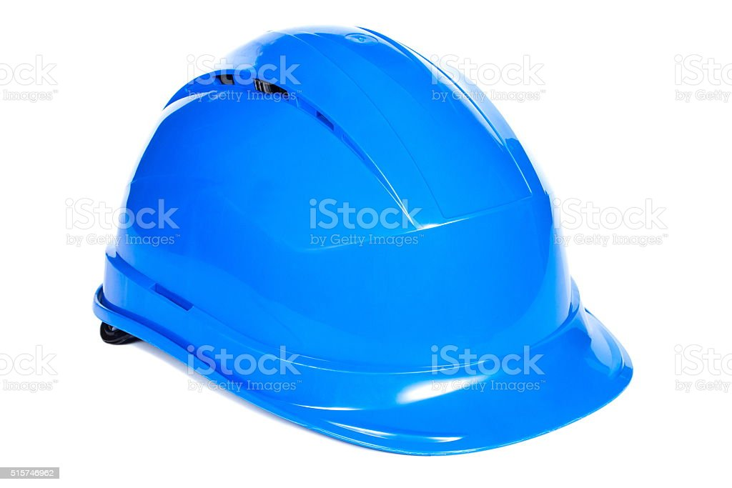 Closeup of blue protective helmet on white background stock photo
