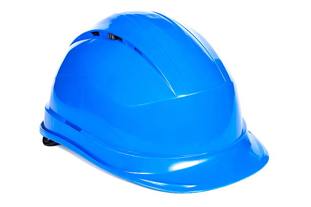 Nahaufnahme von blauen Schutz Helm auf weißem Hintergrund – Foto