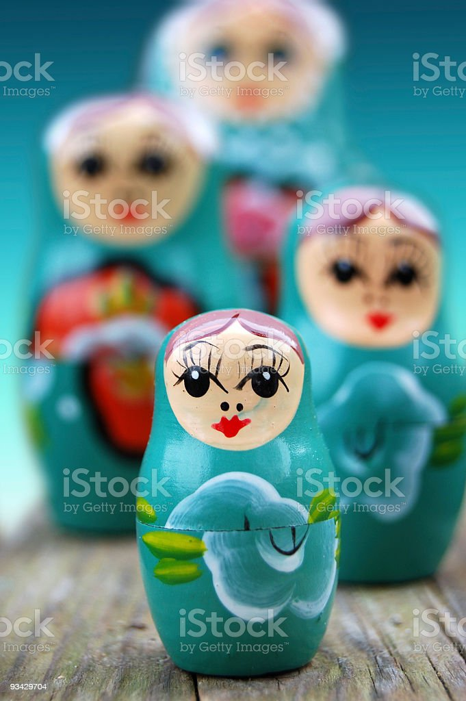 A close-up of blue Russian dolls royalty-free stock photo