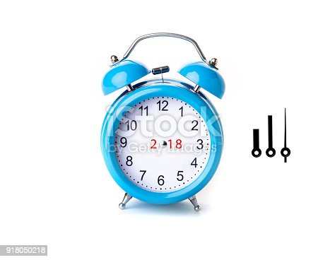 istock Close-up of blue Table Alarm Clock on White Background 918050218
