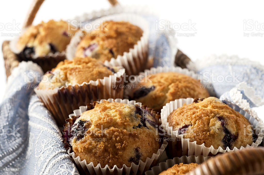 Close-up of blueberry muffins in rectangular basket royalty-free stock photo