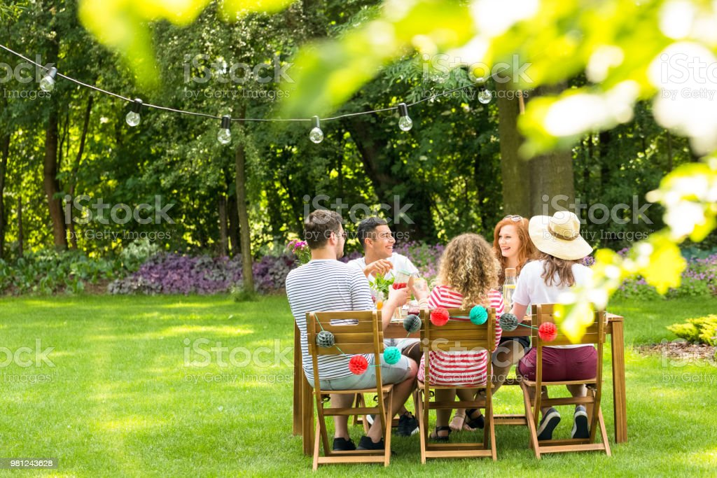 Close-up of blurred leaves in the garden with a group of friends sitting at the table and smiling in the background royalty-free stock photo