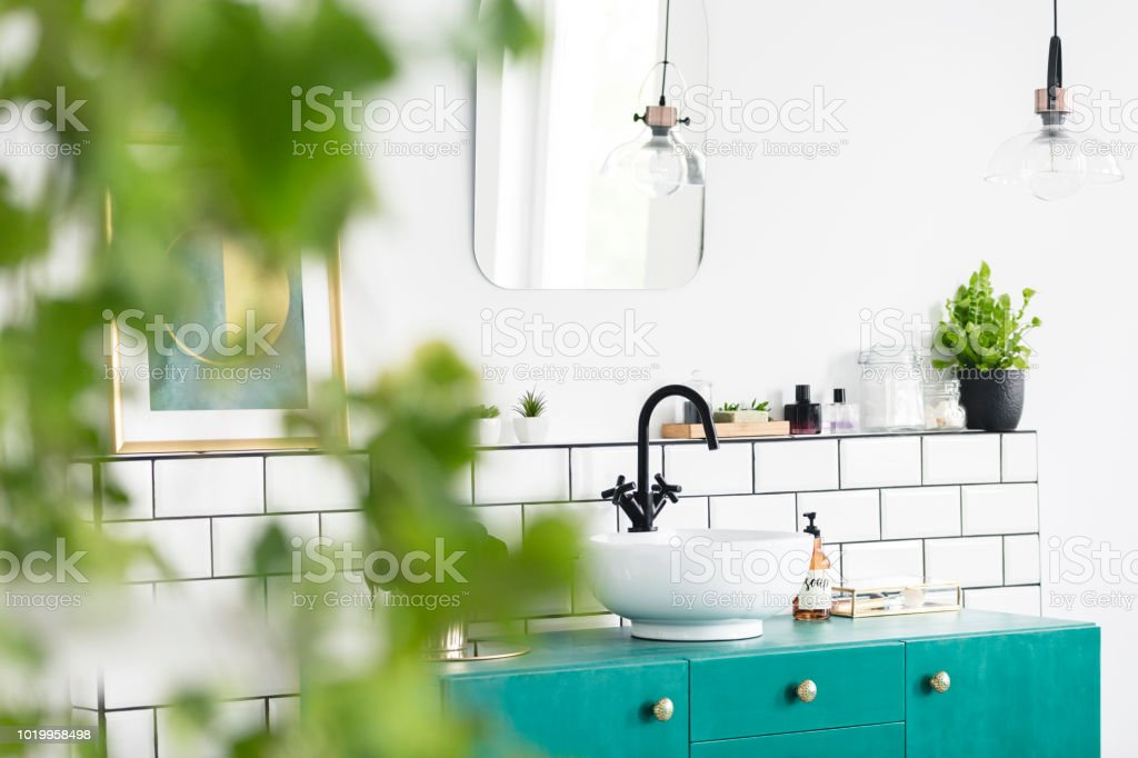 Close-up of blurred leaves with a sink, green cupboard and mirror in the background in the bathroom interior. Real photo stock photo