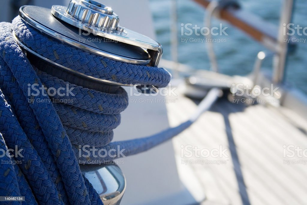 Close-up of boat rigging on the deck of a sailboat royalty-free stock photo